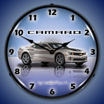 Lighted Camaro G5 Silver Ice Clock