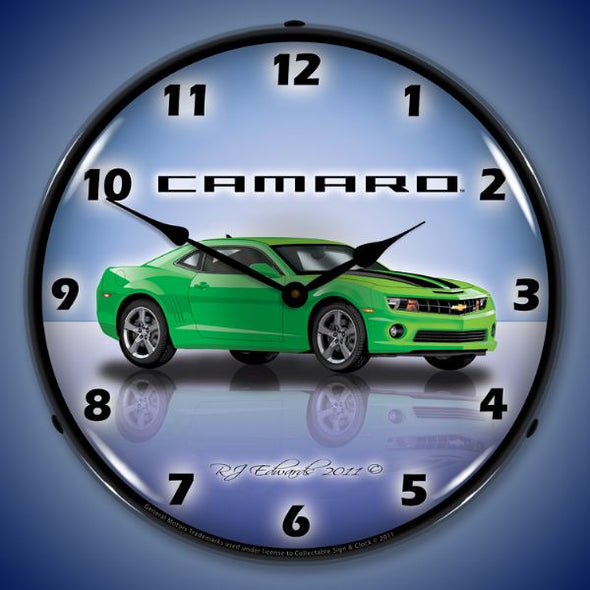 Lighted Camaro G5 Synergy Green Clock