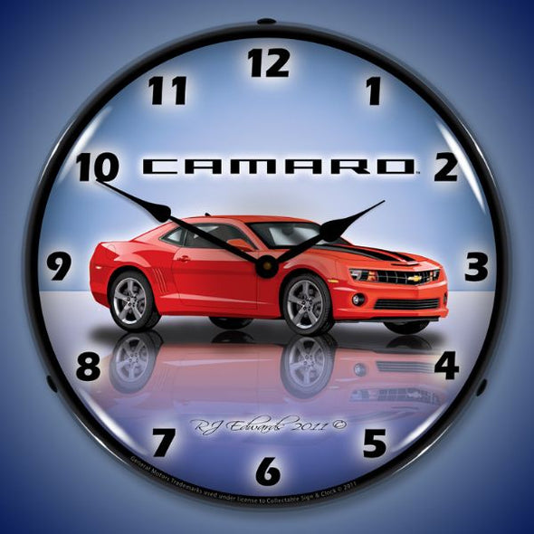 Lighted Camaro G5 Victory Red Clock