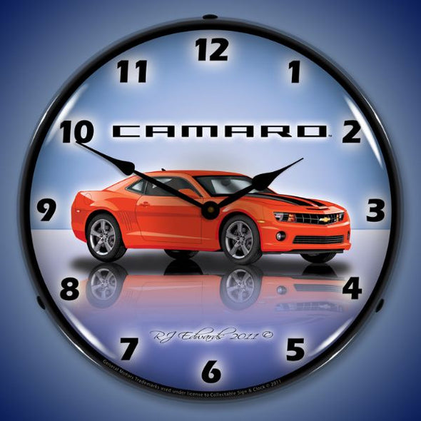 Lighted Camaro SS G5 Orange Clock
