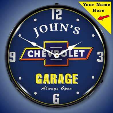 Chevrolet Garage Lighted Clock- Personalize Option