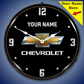 Chevrolet Bowtie Lighted Clock- Personalize Option