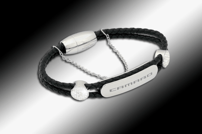 Camaro Ladies Black Leather Bracelet
