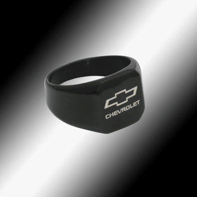 Chevrolet Bowtie Black Signet Ring