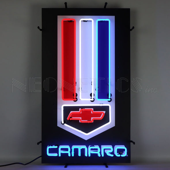 CAMARO RED, WHITE AND BLUE NEON SIGN WITH BACKING