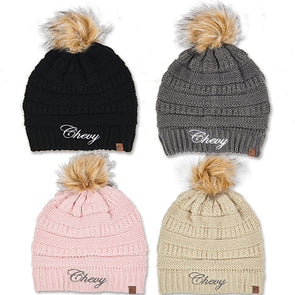 Ladies Chevy Script Knit Beanie w/ Pom