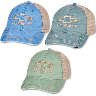 Ladies' Chevrolet Bowtie Distressed Mesh Cap