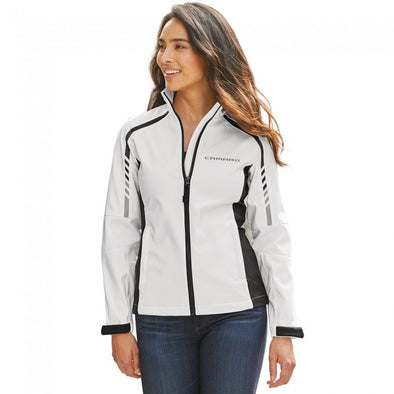 Camaro Ladies Metro Traveler Soft Shell Jacket - White/Deep Gray
