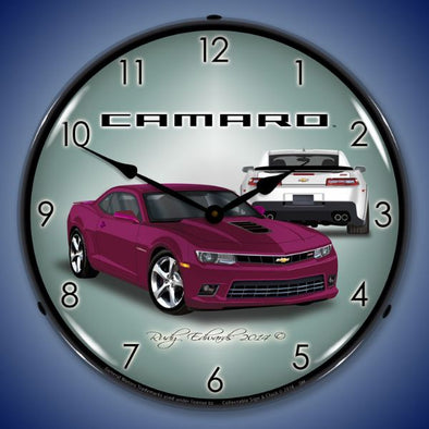 Lighted 2014 SS Camaro Deep Magenta Clock