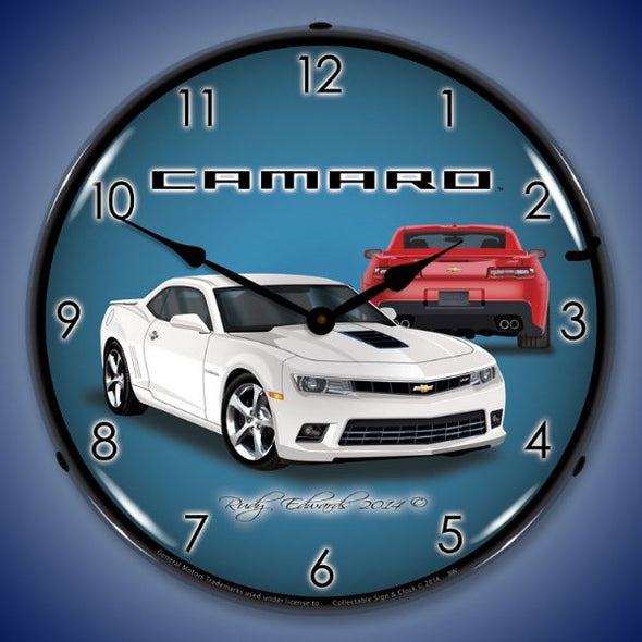 Lighted 2014 SS Camaro Summit White Clock