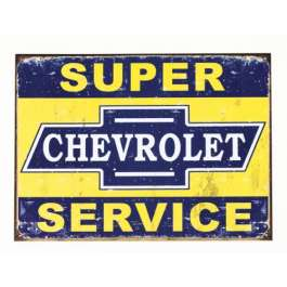 Chevy Weathered Super Chevrolet Service Tin Sign