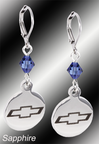 Chevy Bowtie | Emblem Swarovski Crystal | 5/8'' Earrings