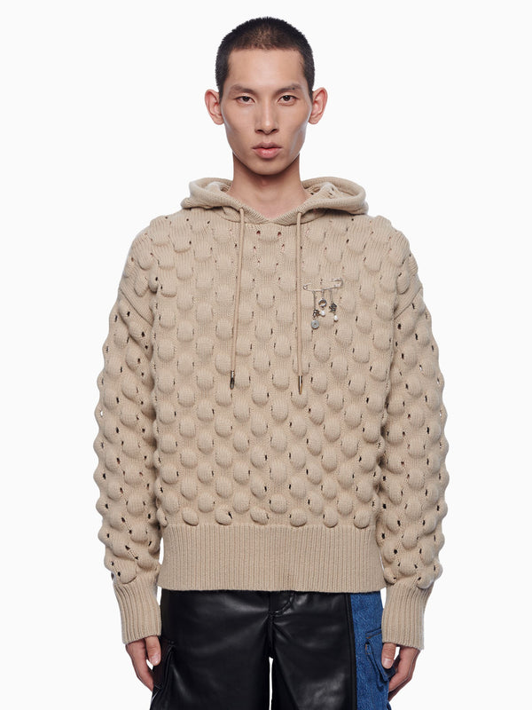 INTARSIA 3D KNITTED HOODIE