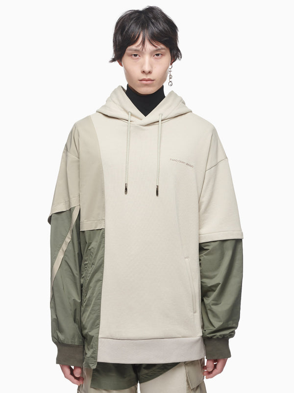 FRENCH TERRY PANELLED HOODIE