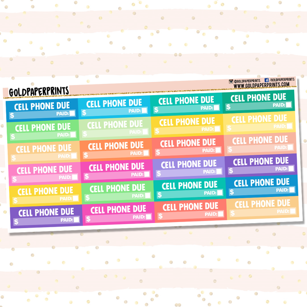 Cell Phone Due Sheet