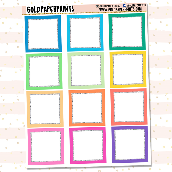Glitter-Lined Square Boxes Sheet