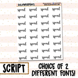 Spend // Script Sheet