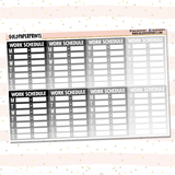 Work Schedule Boxes Sheet