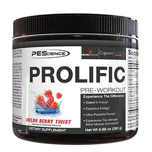 PEScience Prolific, Melon Berry Twist, Powerful Stimulant Pre Workout, 20 Serving