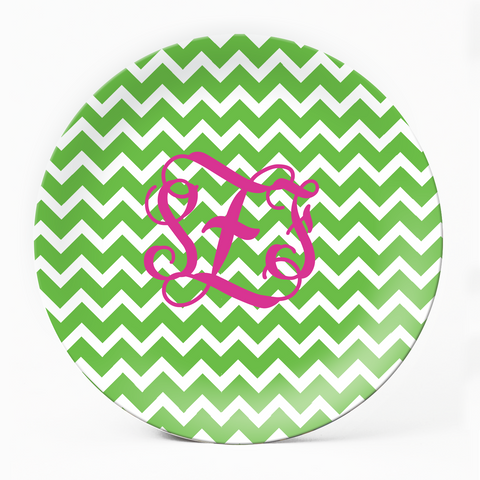 Chevron Green Plate - milogiftshop