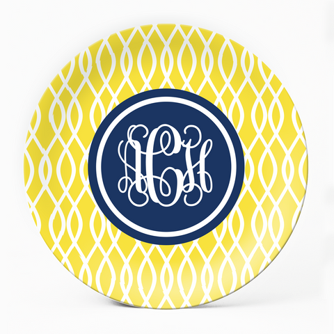 Trellis Yellow Plate - milogiftshop