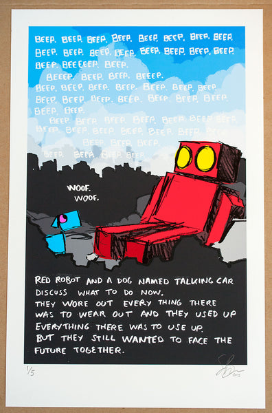Red Robot and a Dog Named Talking Car