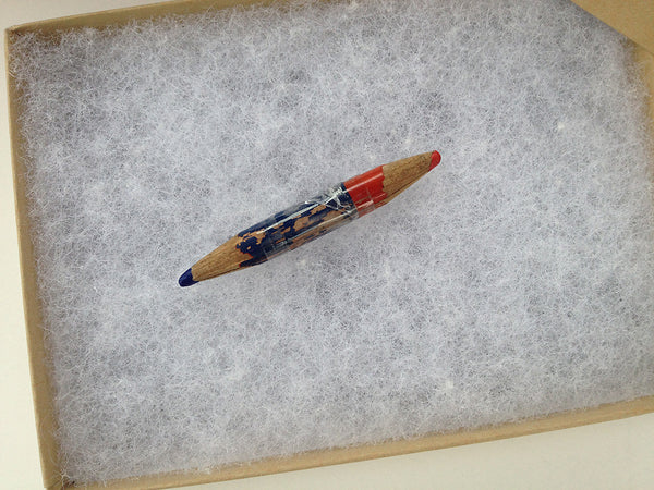 Used Pencil and Crazy Monster's Erasers are Real (Blue and Red combination pencil.)