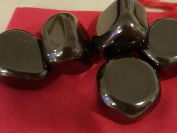 "Hematite is the mineral form of iron oxide and is mined as the main ore of iron.  It is coloured black to steel or silver grey or brown to reddish brown. The name hematite is derived from the greek word for blood ""haima"" because hematite can be red as in rouge, a powdered form of mineral.  Believed to enhance personal magnetism,will and courage, beneficial for blood flow,stress and nerves.  Origin - brazil/china"