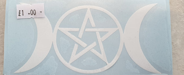 Triple Moon with Pentagram Sticker