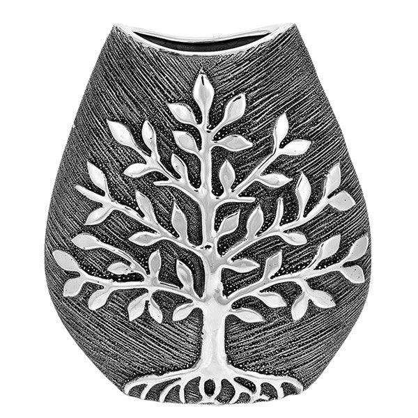 Tree of Life Wide Vase Gunmetal Small