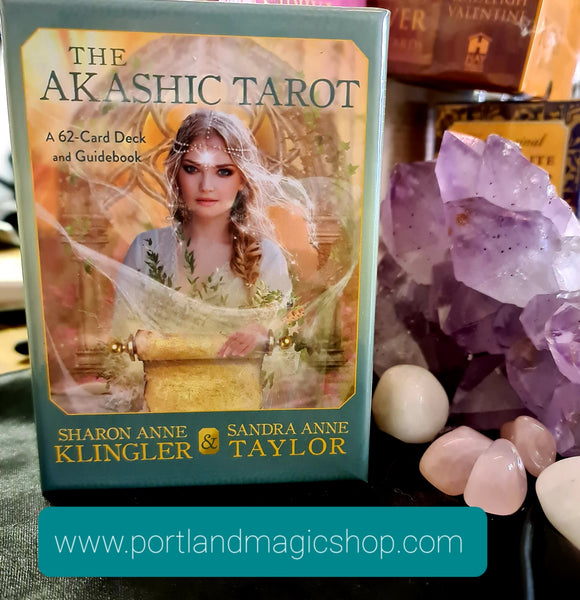 The Akashic Tarot is a 62 card deck created by Sharon Anne Klingler and Sandra Anne Taylor and comes with a handy guidebook. This set of tarot cards can transport readers to the Akashic Records which is said to hold everything that has ever happened, that is happening and that can happen.