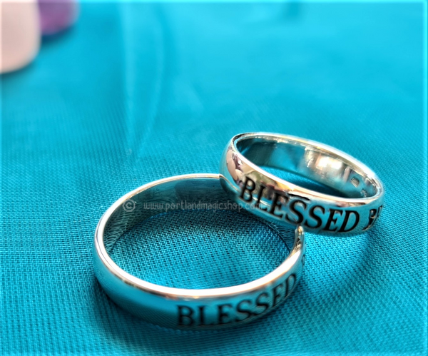 925 Sterling Silver Engraved 'Blessed Be' Ring - wear alone, as a midi ring or stack to create a unique look  NOW AVAILABLE IN XL SIZES! Please select sizes required from the menu below  Band width: 5mm  Comes complete with a gift box
