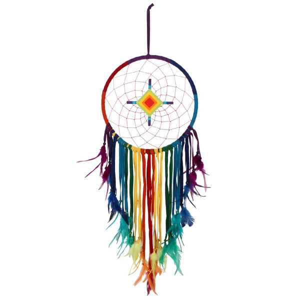 This multicoloured Chakra dreamcatcher is designed to restore and balance the senses.  H:100cm W:32cm D:1cm
