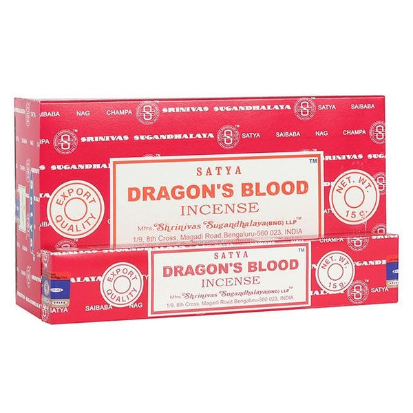 Satya Dragon's Blood incense sticks. Satya incense is made using the highest quality ingredients and each stick is handrolled in India using artisanal methods passed down from generation to generation.