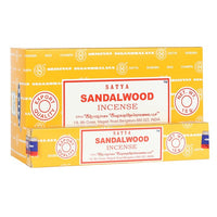 Satya Sandalwood incense sticks. Satya incense is made using the highest quality ingredients and each stick is handrolled in India using artisanal methods passed down from generation to generation.