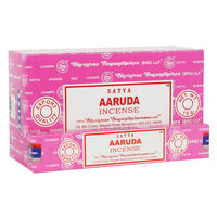 Satya Aaruda incense sticks. Satya incense is made using the highest quality ingredients and each stick is handrolled in India using artisanal methods passed down from generation to generation.