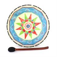 FEATURES Round frame drum Brightly decorated skin Beater included Handmade in Bali