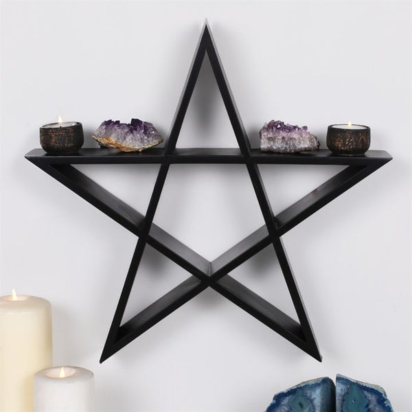 Impressive black Pentagram wall shelf with two hooks on the reverse ready for hanging. A great way to display a crystal collection.  Made with MDF and Measures H:40cm W:40cm D:7cm