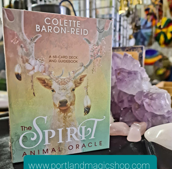 The Spirit Animal Oracle card deck by Colette Baron-Reid includes a 68-card deck and 200 page guidebook. This deck connects those with the extraordinary animal spirit partners that protect and guide them. Beautifully presented in folding box and illustrated by Jena DellaGrottaglia.