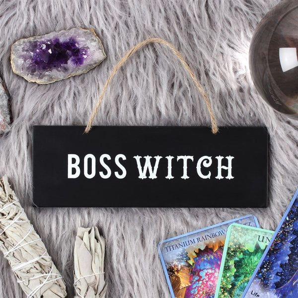 "Show who is the ""BOSS WITCH"" with this plaque. Can be hung on walls,doors,windows. Made from MDF and measures H:7cm W:20cm D:1cm"