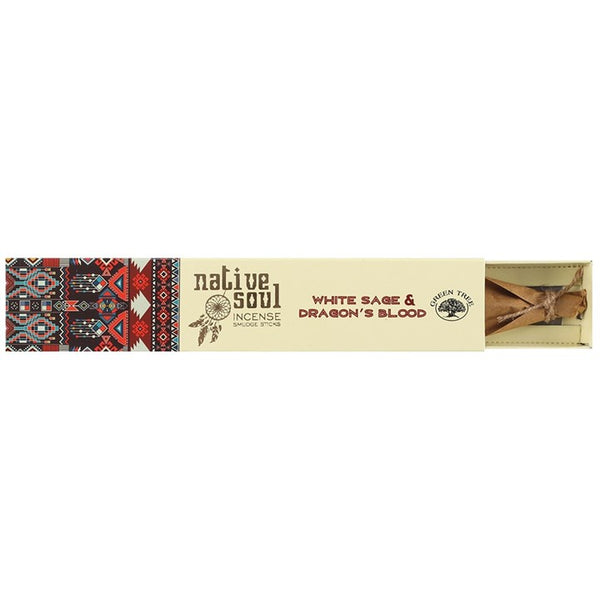 This White Sage & Dragon's Blood Native Soul Incense has been blended perfectly together to create a calming atmosphere whilst restoring balance to the mind and soul. The incense iis beautifully packaged within a sliding box decorated with native American print on the outside and finished with a delicate feather on the inside.