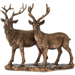 "From the Leonardo Collection we have this stunning Pair of Stags Ornament that is bronze in colour but with lots of detail.  This a very pretty ornament.  Measures 7""H x 10""W"