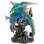 A brightly coloured and bold dragon sat on top of a rock. Nice and large statement piece.