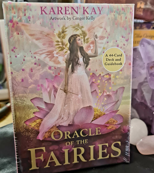 The Oracle of the Fairies card deck by Karen Kay includes a 44-card deck and 120 page guidebook. This deck connects the user to the fairy world to gain practical insight to everyday life and wellbeing. Beautifully presented in sliding box and illustrated by Ginger Kelly.