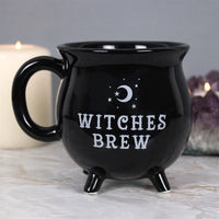 Made from Bone China.  This brilliant black mug is designed to look like a cauldron and features the words 'Witches Brew'. The mug will come in a matching cardboard box.  Suitable for microwave or dishwasher use.   H:10cm W:10cm D:10cm