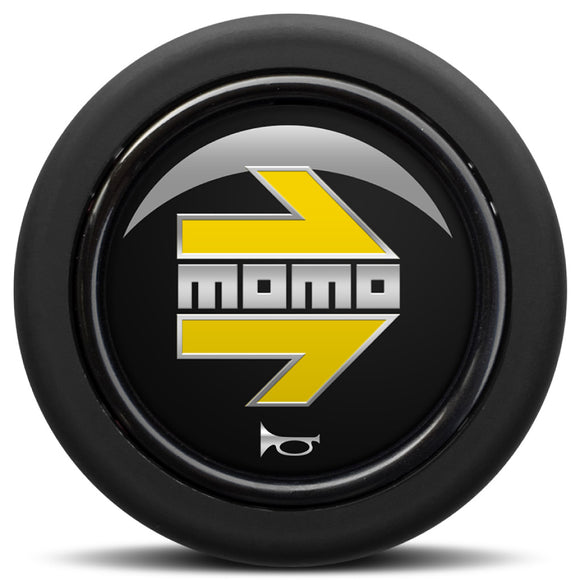 MOMO Horn Button Glossy Black Yellow and Chromed Logo