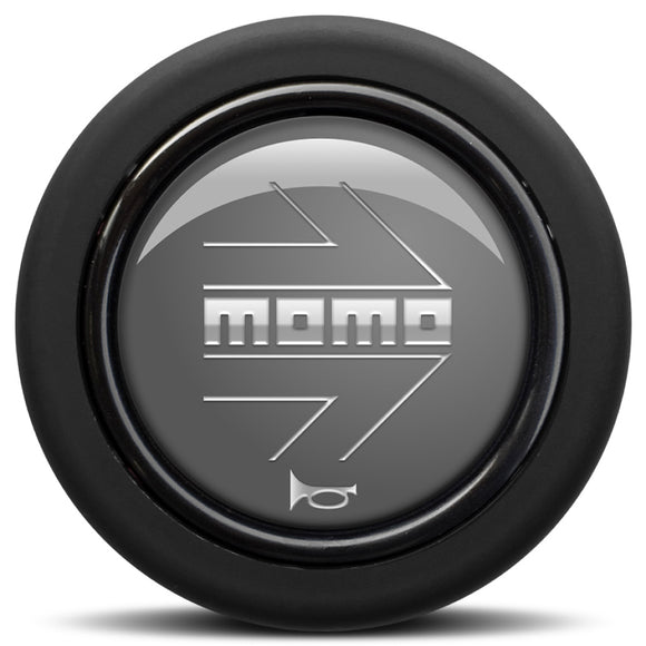 MOMO Horn Button Glossy Anhtracite Chromed Logo