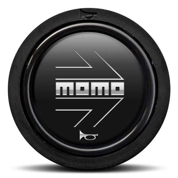 MOMO Horn Button Matt Black Chromed Logo Flat Lip