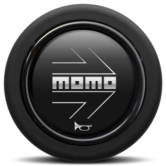 MOMO Horn Button Matt Black Chromed Logo Round Lip