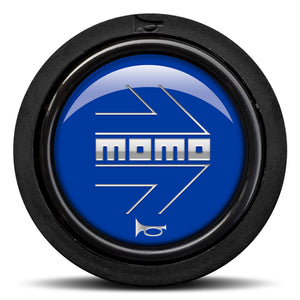 MOMO Horn Button Glossy Blue Chormed Logo